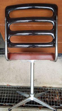 Fauteuil de bureau vintage en skaï et plexiglas