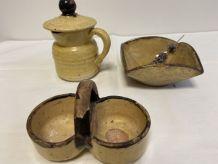 lot  condiments 3 pièces poterie
