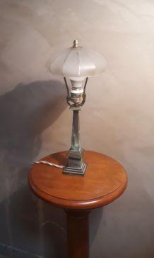 lampe bronze laiton belle patine  (  mini lampadaire)  1940