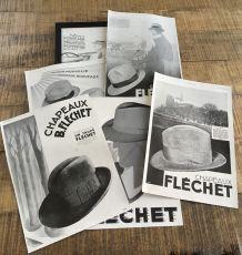 Lot 6 publicités années 30 Chapeaux Fléchet