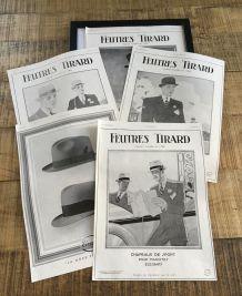 Lot 5 publicités années 30 Chapeaux TIRARD