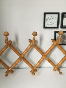 Porte Manteau accordéon vintage rotin/ bambou