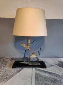élégante et grande lampe oiseaux en laiton, décor en régule
