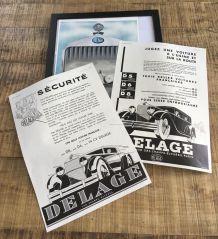 Lot 3 publicités années 30 Auto DELAGE