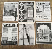 Lot 6 publicités années 30 Evasion Voyage