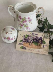 Sucrier ou bonbonnière, porcelaine de Limoges, shabby chic