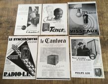 Lot 6 publicités années 30 Radio Technologie
