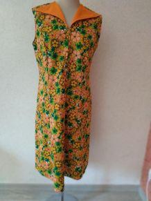 Robe vintage fleurie orange