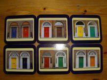 "Lot de 6 sous-verres ""les portes de Dublin"""