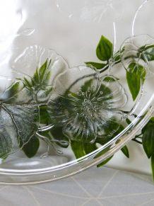 Plat à tarte en verre motif liseron