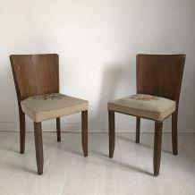 Paire de chaises vintage 50's à décor de fleurs
