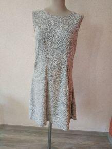 Robe vintage sans manche grise et blanche