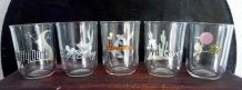 5 verres de personnages de  Warner bros