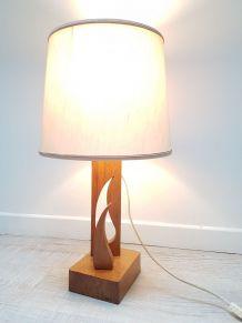 lampe de table pied en bois signée m.c  style scandinave