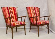 Paire de fauteuils Baumann éventail années 60