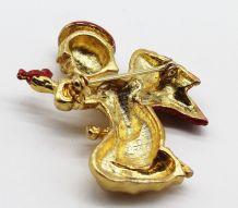 Broche ange dorée et rouge avec oiseau
