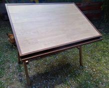 Table à dessin d'architecte vintage en bois