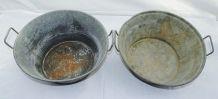 Paire de bassines à anses en métal zingué