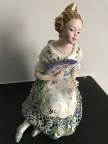 "Statuette Porcelaine ancienne ""VALENCIANA"" Collector !"