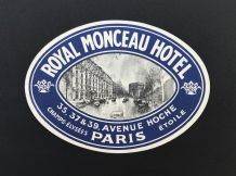 "Rare ! Etiquette bagage ""Royal Monceau"" Paris, Originale"