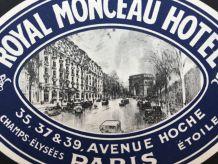 """Rare ! Etiquette bagage """"Royal Monceau"""" Paris, Originale"""