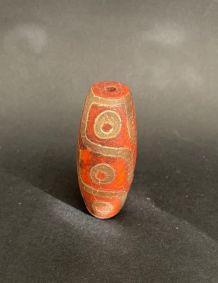 Pendentif RARE FengShui Amulette DZi 9 yeux 18ème Tibet