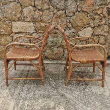 Paire de fauteuils en rotin Audoux Minet 1960