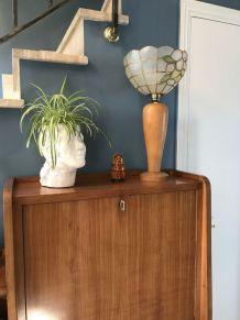 Lampe de table en bois et nacre 1970