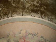 Tapis vintage soie rond Chinois Art Deco fait main, 1C301