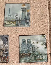 Lot de 5  Sous verres décor Paris