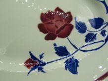plat oval faïence Badonviller Fréjus décor de rose