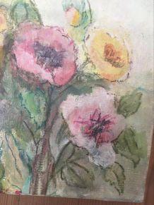 Peinture bouquet de fleurs sur toile.