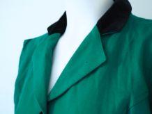 Robe crayon en laine verte forêt manches gigots 80s