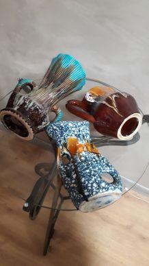 lot de 3 vases et ceramiques 1950 a70s  ,lava, granitè, vern