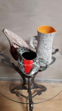 lot de 3 vases  et ceramiques    1950 a 60    style valauri