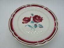 6 assiettes plates Badonviller décor de roses