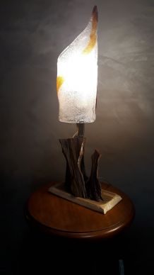lampe  verre murano (italie) 1970  pied  racine  bois exotiq