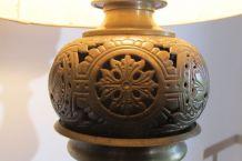 Lampe de salon en bronze et laiton ajouré
