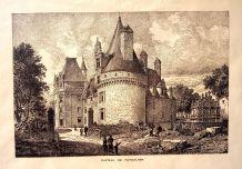 Jolie gravure du château de Puyguilhem - J de Vermachl 1880