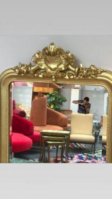 Grand Miroir ancien doré d'époque Louis Philippe