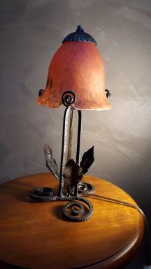 petit lampe fer forgé 1920  pate de verre  type muller non s