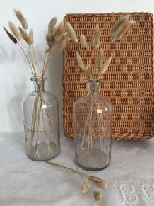 Paire de flacons en verre ancien, décoration