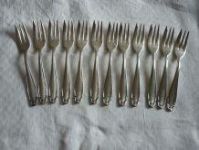 12 fourchettes a gateau en metal argenté