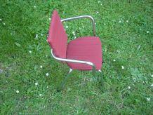 Chaise enfant vintage metal chromé et tissu