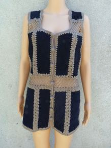 Hippie gilet 70s lainage cuir taille 38