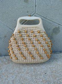 70s vintage sac à mains paille perles