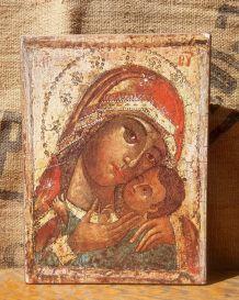 Icône de la vierge de Korsun (russe) sur bois massif