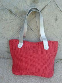 Nina RICCI sac tressé rouge/rosé anses argenté