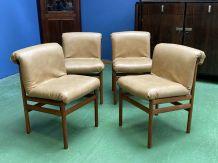 Suite de 4 chaises scandinaves en teck et simili cuir