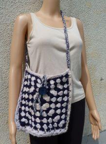 vintage tricoté mains sac bandoulière laine